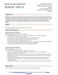 Food Service Skills Resume Food Service Assistant Resume Samples Qwikresume