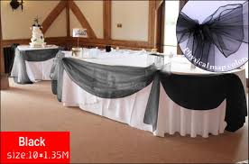 10m x1 35m black organza wedding backdrops and table skirting with