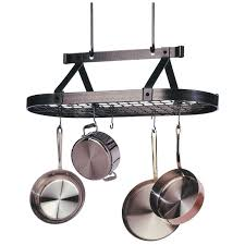 Hanging Pan Racks For Kitchen Kitchen Try This Hanging Pot Rack Design For Your Kitchen