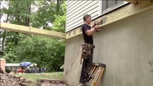How to build a deck video Concrete Patio Build Deck Myfixituplife Video How To Build Deck Part 2 Joists Hardware Posts
