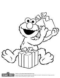 Elmo With Birthday Gifts Coloring For