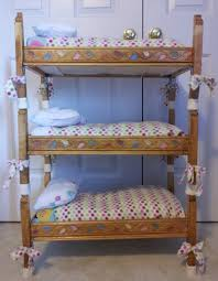 Inspiring Diy Build A Doll Triple Bunk Bed With Colorful Ribbon And Chic  Cover Bed Sheet For Girls Toys Ideas