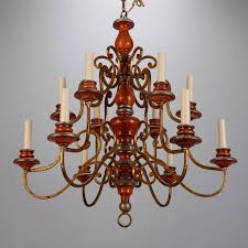 cherry wood and bronze wrought iron based chandelier with 10 candle cups beautiful antique wood