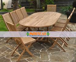 outdoor furniture sets teak wooden single extend oval table sets 10 pieces foldable chairs