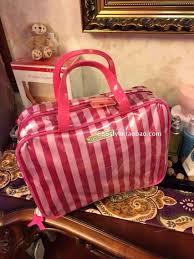 actual size prev next vs spot victoria s secret pink stripe portable cosmetic bag