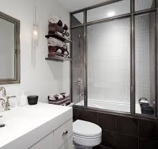 Inspiration for a contemporary white tile and subway tile tub/shower combo  remodel in New