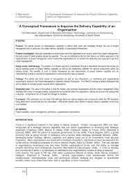 (PDF) A conceptual framework to improve the delivery capability of ...