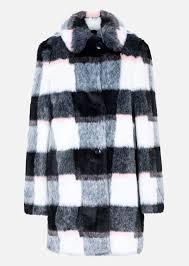 emporio armani maxi check faux fur coat peacoat woman r