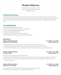 Examples Of Medical Assistant Resume Pediatric Medical Assistant