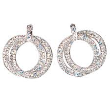 double circle hoops crystal earrings with ab and white diamond swarovski crystal length 45mm