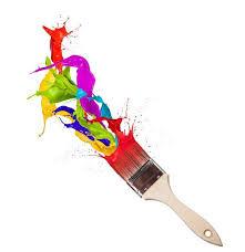 pincel con pintura. cuadro en lienzo salpicaduras de pintura colores que salpican pincel - abstractos con i