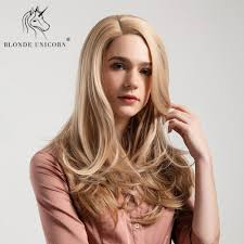 Light Brown Shoulder Length Wig Blonde Unicorn Synthetic Natural Wave Hair Wig Side Parting
