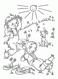 Kids And Spring Coloring Page For Kids Seasons Coloring Pages