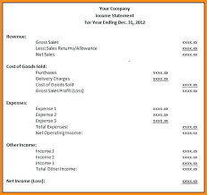 Simple Income Statement Template Profit And Loss For Self