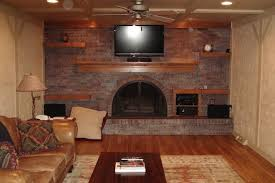 hand made custom coffer ceiling and floating wood shelves by lee