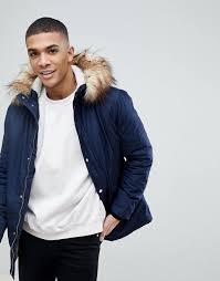 river island parka jacket with faux fur hood in navy men