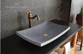 24 gray granite stone bathroom vessel sink bali