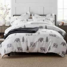 the company bear tracks holiday flannel queen duvet cover 50251d q multi the home depot