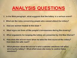 "the lottery"" shirley jackson ppt video online  3 analysis questions"