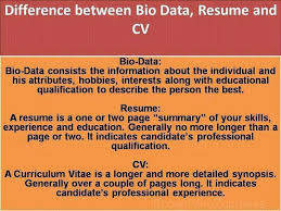 Difference Between BioData Resume And CV Facts General Info Delectable Difference Between A Cv And A Resume