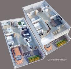 Duplex Designs For Narrow Blocks Entry 3 By Dodyardiansyah For 2d 3d Design Two Storey