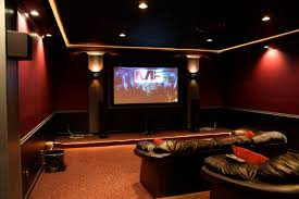 Interior:Amazing Home Theater Room With Two Level Seating Complete With  Mounted Screen Unit Opulent