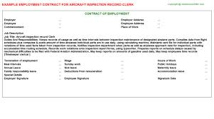 Aircraft Inspection Record Clerk Employment Contract