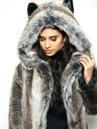 furry coat with hood classic grey wolf faux fur coat fur hooded coat womens uk