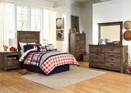 The Trinell Brown <b>4 Pc</b>. Dresser, Mirror, Twin Panel Headboard Bed ...