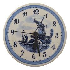 delft blue wall clock windmill landscape 15 cm dutch gifts