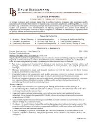 Resume Resume Executive Summary Example Examples Template Free