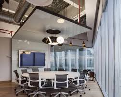 private office design ideas. Office Pendant Lighting On False Ceiling Over Round Meeting Table And Black Mesh Back Private Design Ideas