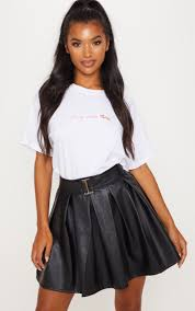 black belted faux leather pleated mini skirt image 1