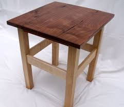 custom end table of walnut wild cherry and flame maple by