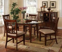 furniture black glass round dining table set with four brown