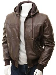 men s brown leather hoo jacket chelfham front