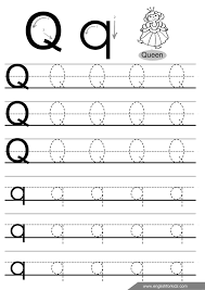 Letter q tracing worksheet, handwriting practice worksheets