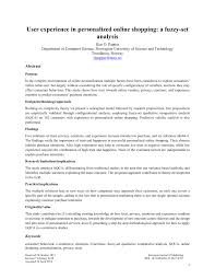 Research Design Online Shopping Pdf User Experience In Personalized Online Shopping A