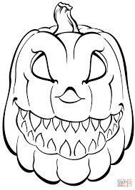 Small Picture Scary Coloring Pages Scary Pumpkin Coloring Page Free Printable