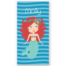 Red Orange Hair Mermaid Personalized Kids Beach Towel