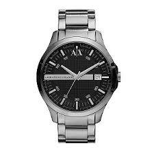 armani exchange men s dark grey stainless steel watch h samuel