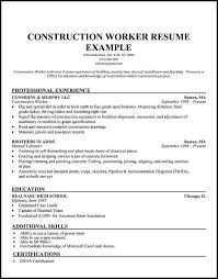 Example Of Construction Resume Laborer Resume Template Emelcotest Com