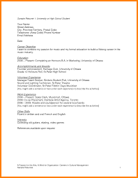 High School Resume For College Sample Student Cv Template Word