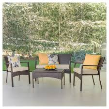 wicker patio furniture. Cancun 4pc All-Weather Wicker Patio Chair Set - Brown Christopher Knight Home : Target Furniture T