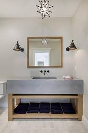 wood and concrete washstand with moravian star pendant