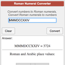 Number Numerals Chart Roman Numeral Converter