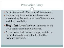 persuasive essay the persuasive essay differs from the expository context surrounding the topic sources of information and their credibility refutation of different opinions on the issue before concluding the essay