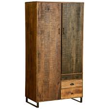 wooden patches mango wood iron 77quot wardrobe armoire cabinet