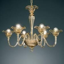 cato murano glass chandelier 6 lights amber