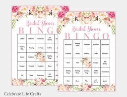 Wedding Bingo Words 60 Bridal Bingo Cards Boho Bridal Shower Bingo Prefilled Wedding Words Instant Download Pink Rose Bohemian Bridal Shower Game Br1007